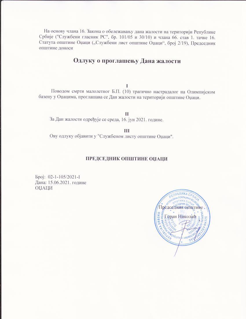 Proglašen Dan žalosti povodom smrti stradalog dečaka na Olimpijskom bazenu u Odžacima